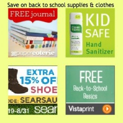 Back to school savings, Vistaprint back to school, Sears promo codes, Vistaprint promo codes, CleanWell promo codes, Paper Coterie free journal, free journal, free Vistaprint business cards