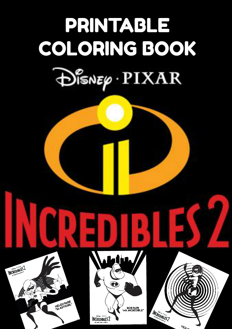 Download & Print: Free Incredibles 2 Character Coloring Book