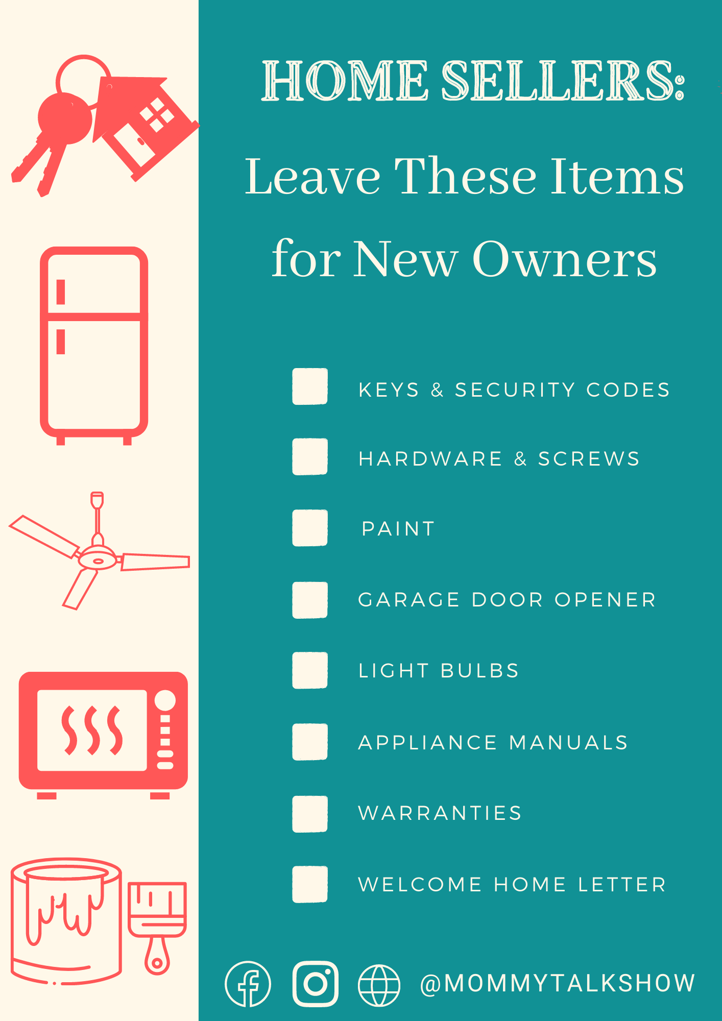 Graphic list of items sellers can leave for new homeowners including keys, appliance manuals, and old paint