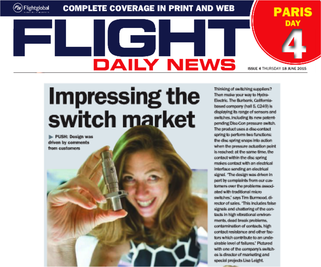 Paris Air Show 'Flight Daily News' Features Hydra-Electric's Newest Pressure Switch