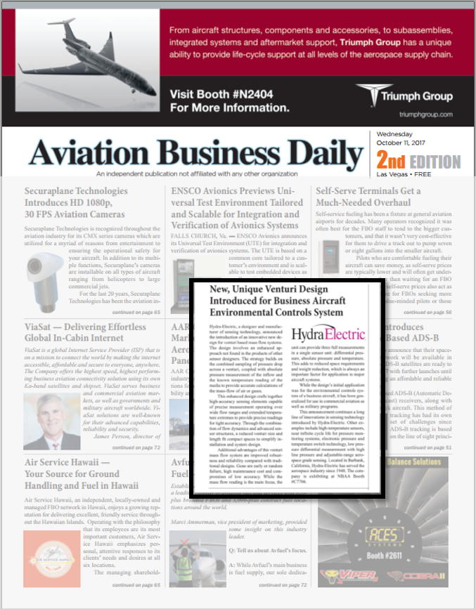 Aviation Business Daily covers Hydra-Electric's new sensor design