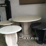 Marble rounded side tables Designed and produced by Maldini Granite and Marbles Nigeria LTD.