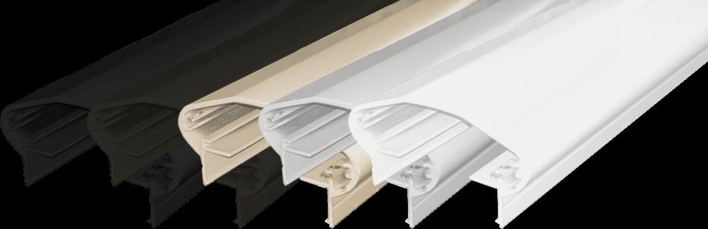 Aluminum Round Rectangular Top Rail in 5 colors