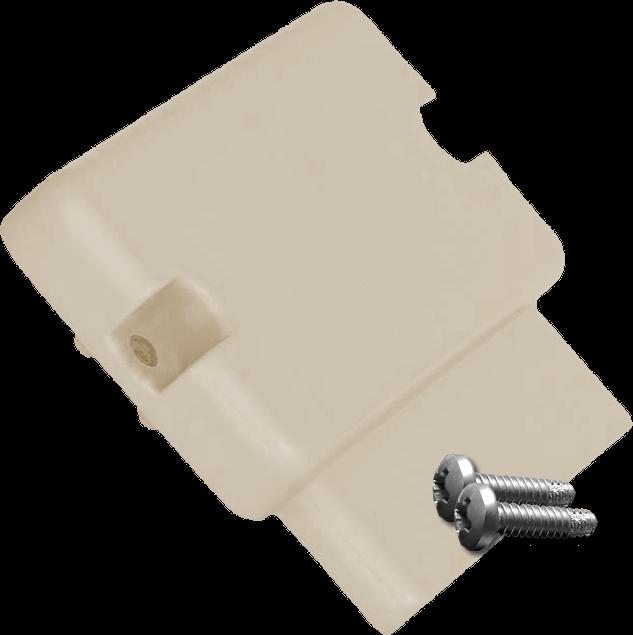 Flat Rail end with screws for rectangular aluminum top rail