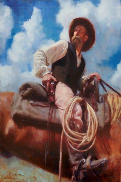 30x20 giclee print, Nothin's Stopping His Colt by artist Deborah Berniklau