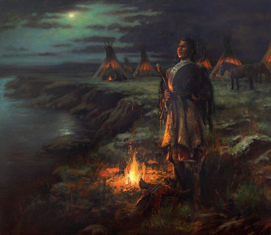 orignal oil painting, Night Song by artist Don Oelze