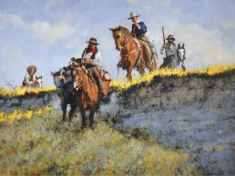 original oil painting, Escape to Robbers Roost by artist CM Dudash