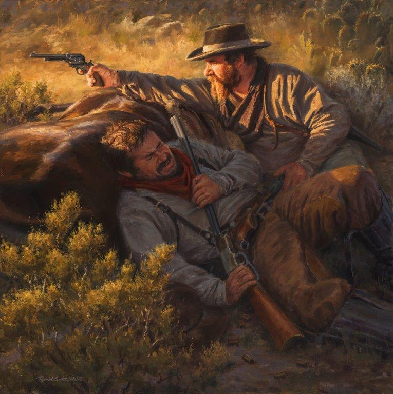 original oil painting, Help Ain't Comin' by artist Russell Smith, western art