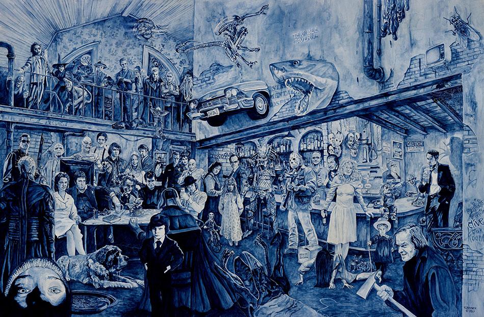 acrylic painting, Terrible Tavern by artist Tim Joyner