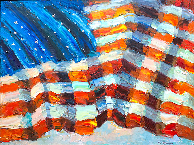 original patriotic oil painting, Devoted by the artist Troy Collins