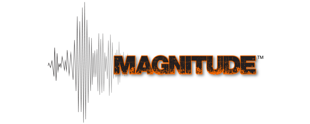 Orange magnitude logo with seismograph lines on a white background