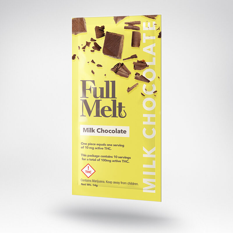 Full Melt infused Milk Chocolate Bar in yellow packaging.