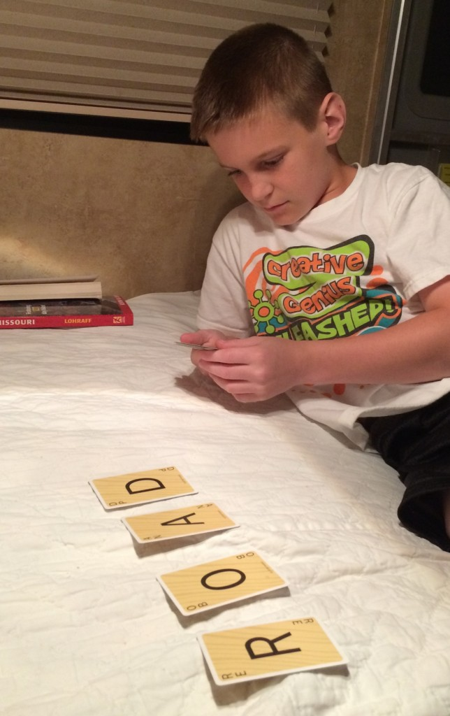 Playing Scrabble Slam in the Camper