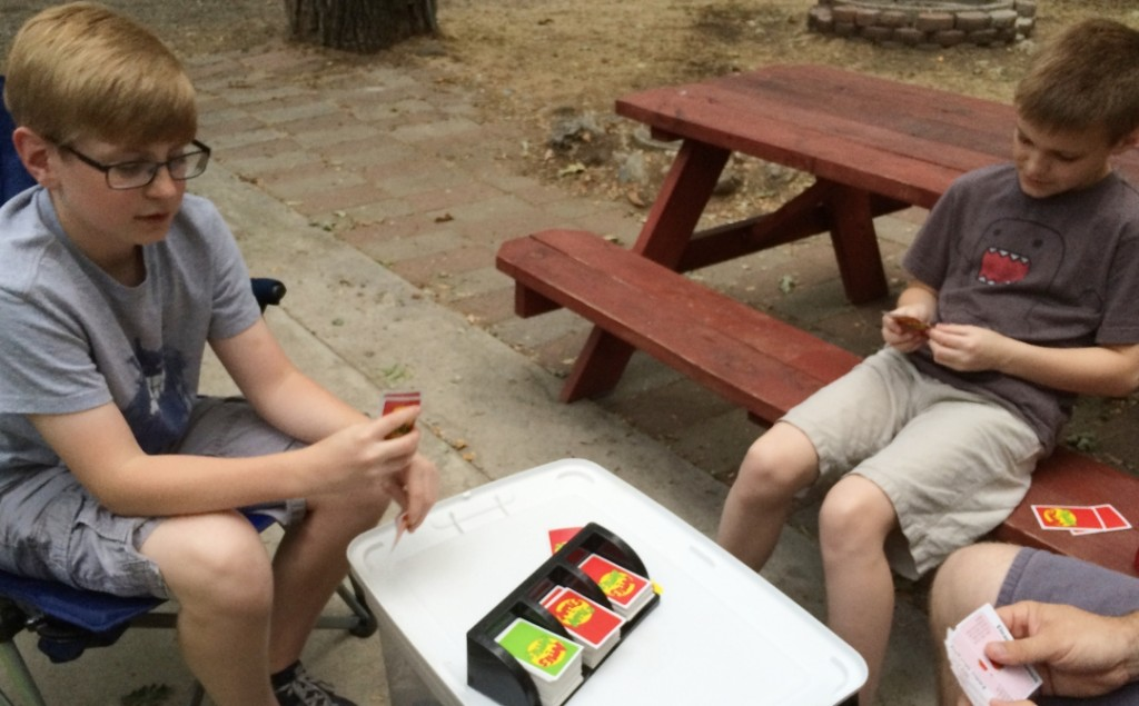 Playing Apples to Apples at the campsite