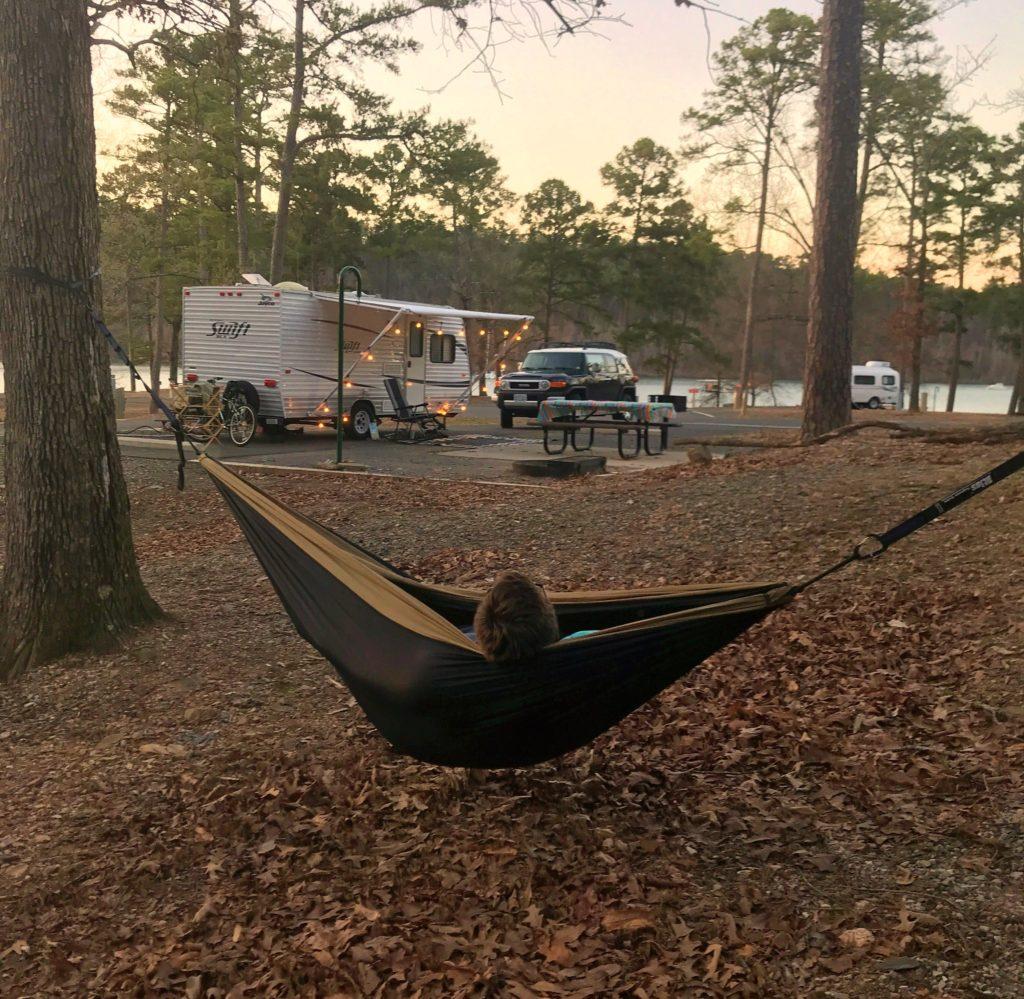 A campsite in Area B in Lake Ouachita State Park