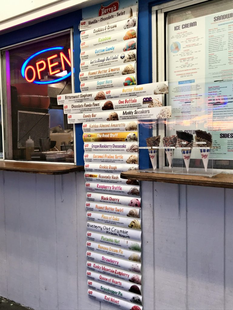 a list of 20+ flavors of ice cream available at Adrian's Custard and Beef in Grand Island, NY