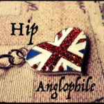 Heart-shaped keychain with UK Union Jack with words Hip Anglophile