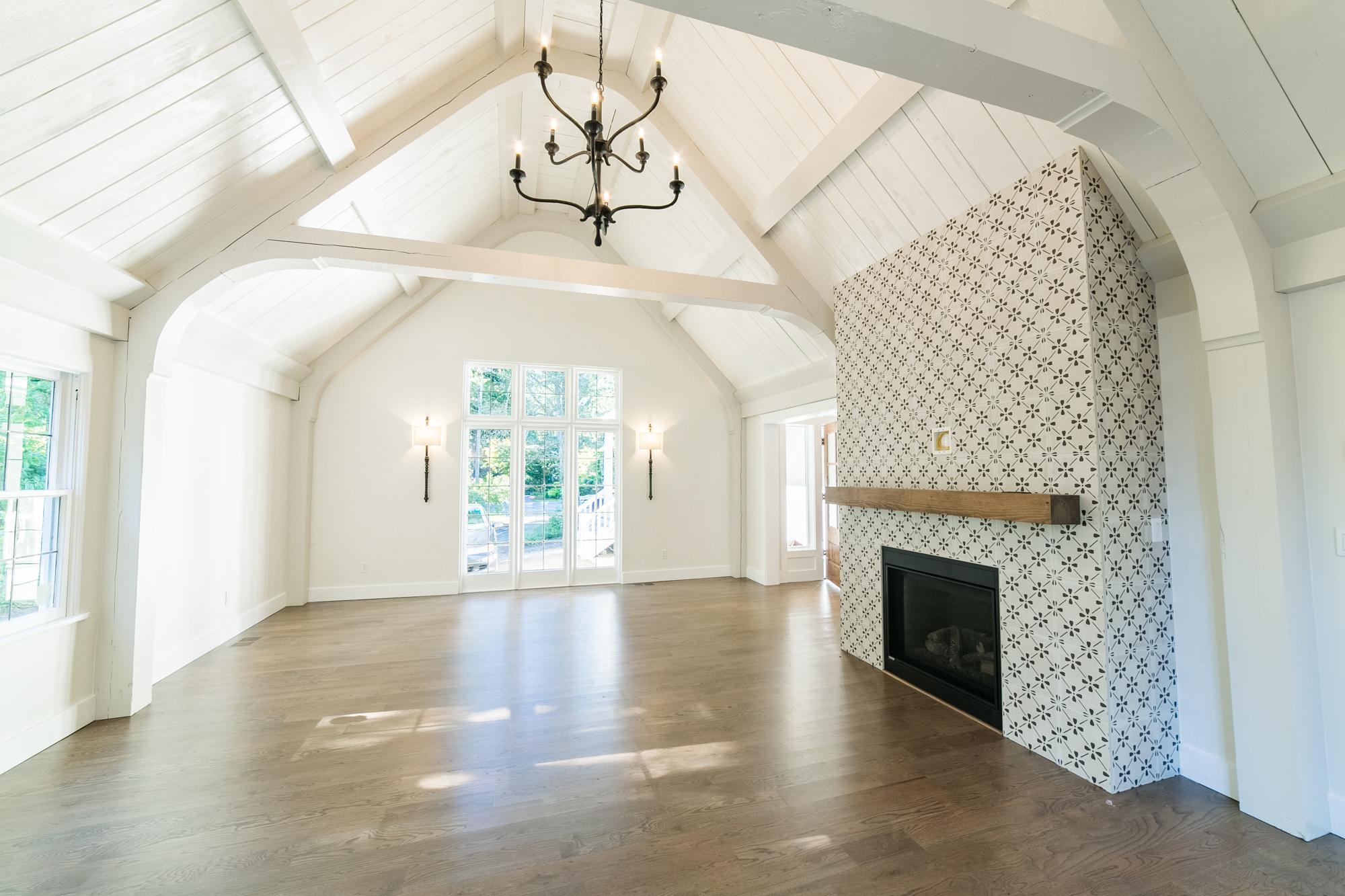 Formal Living, Custom Tile, Fireplace