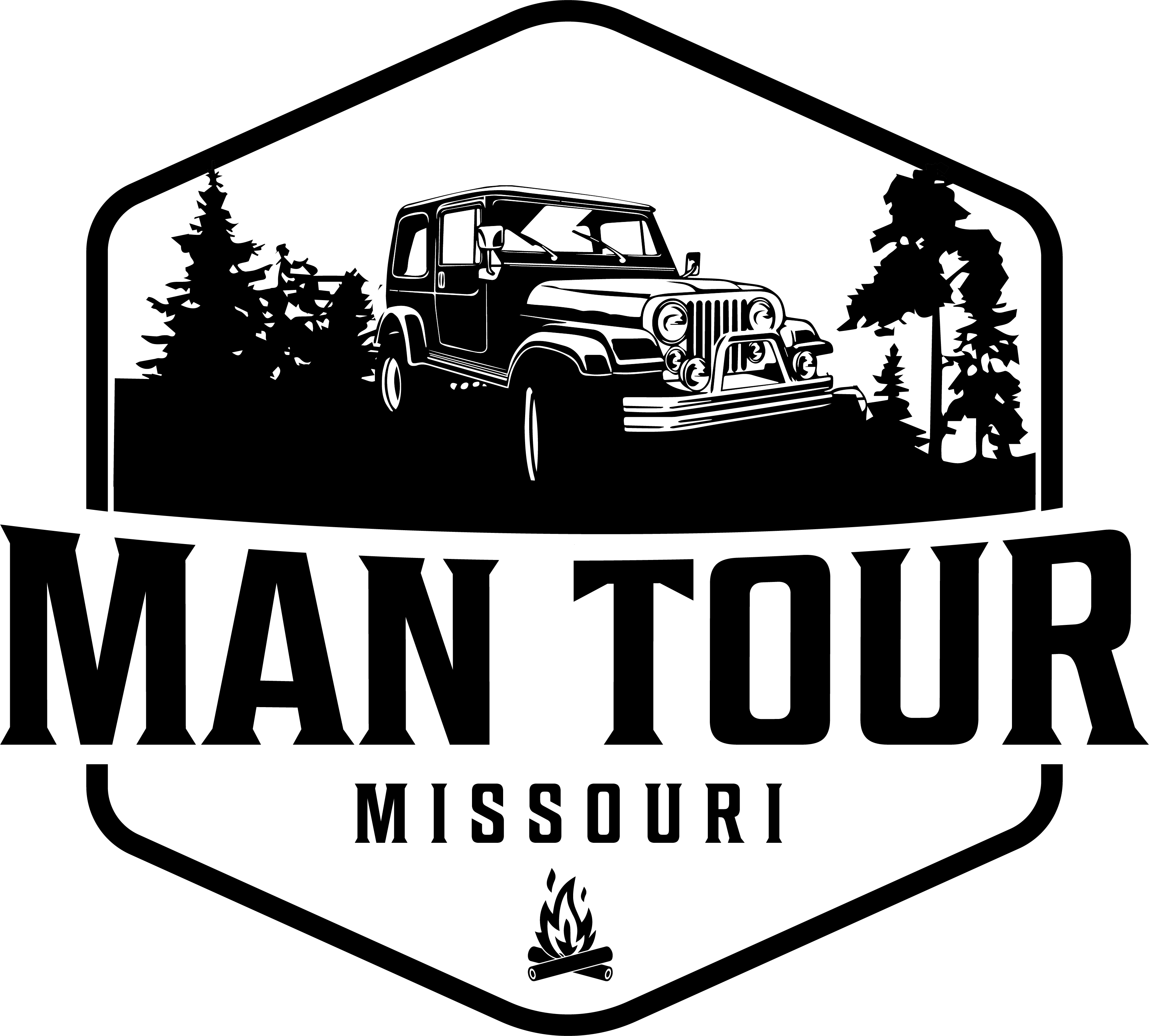 Man Tour Logo with jeep and trees