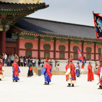 Guards of emperor palace at Seoul. South Korea