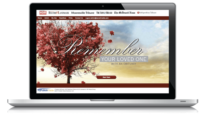 Self serve newspaper obituary software