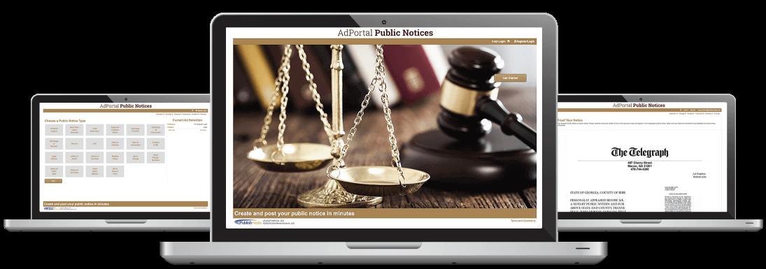 AdPortal Public Notices on laptops