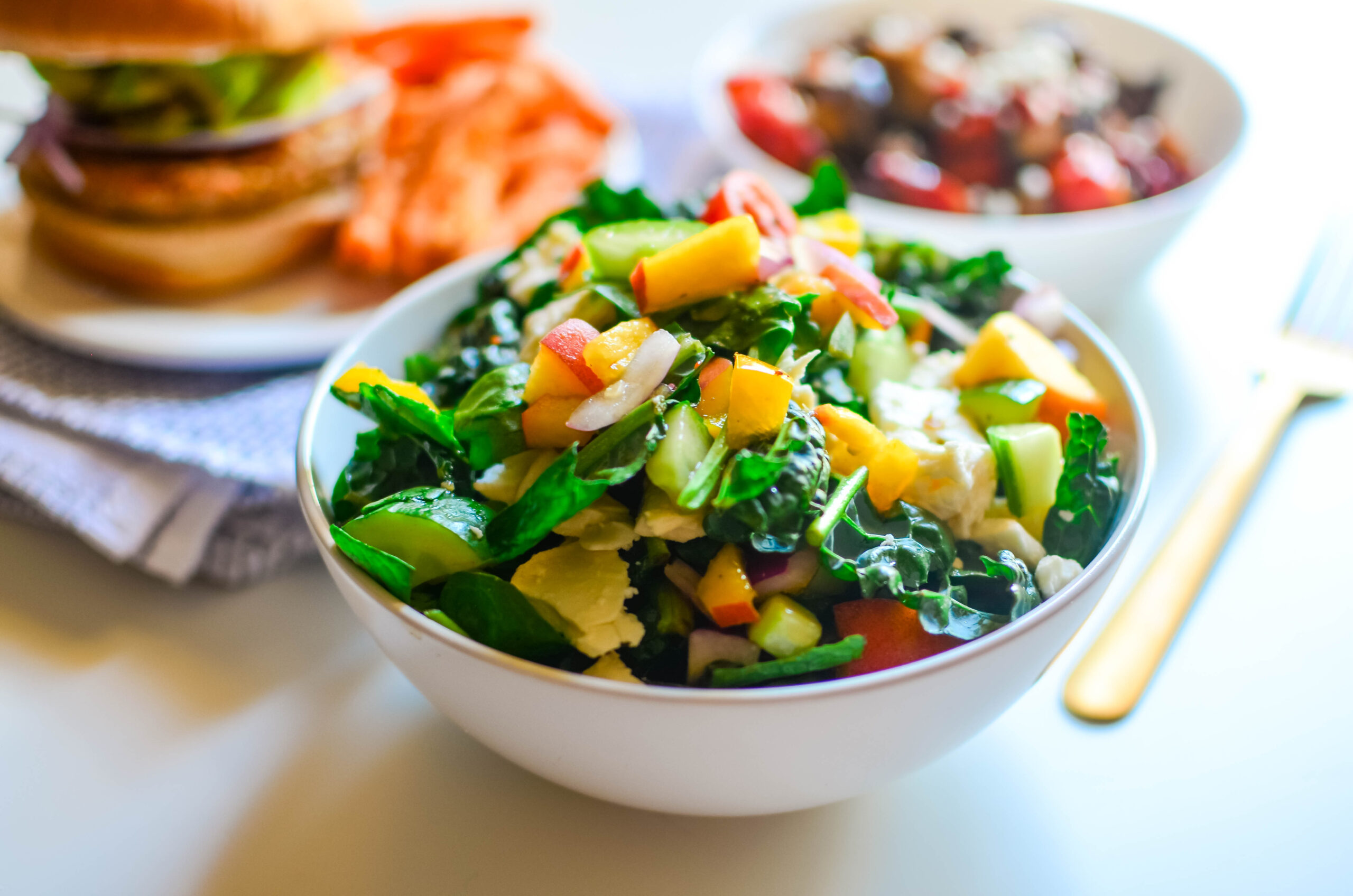 Kale Peach Salad with Citrus Herb Vinaigrette