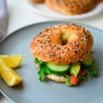 Cucumber Avocado Lox Bagel on an Everything 2 ingredient bagel