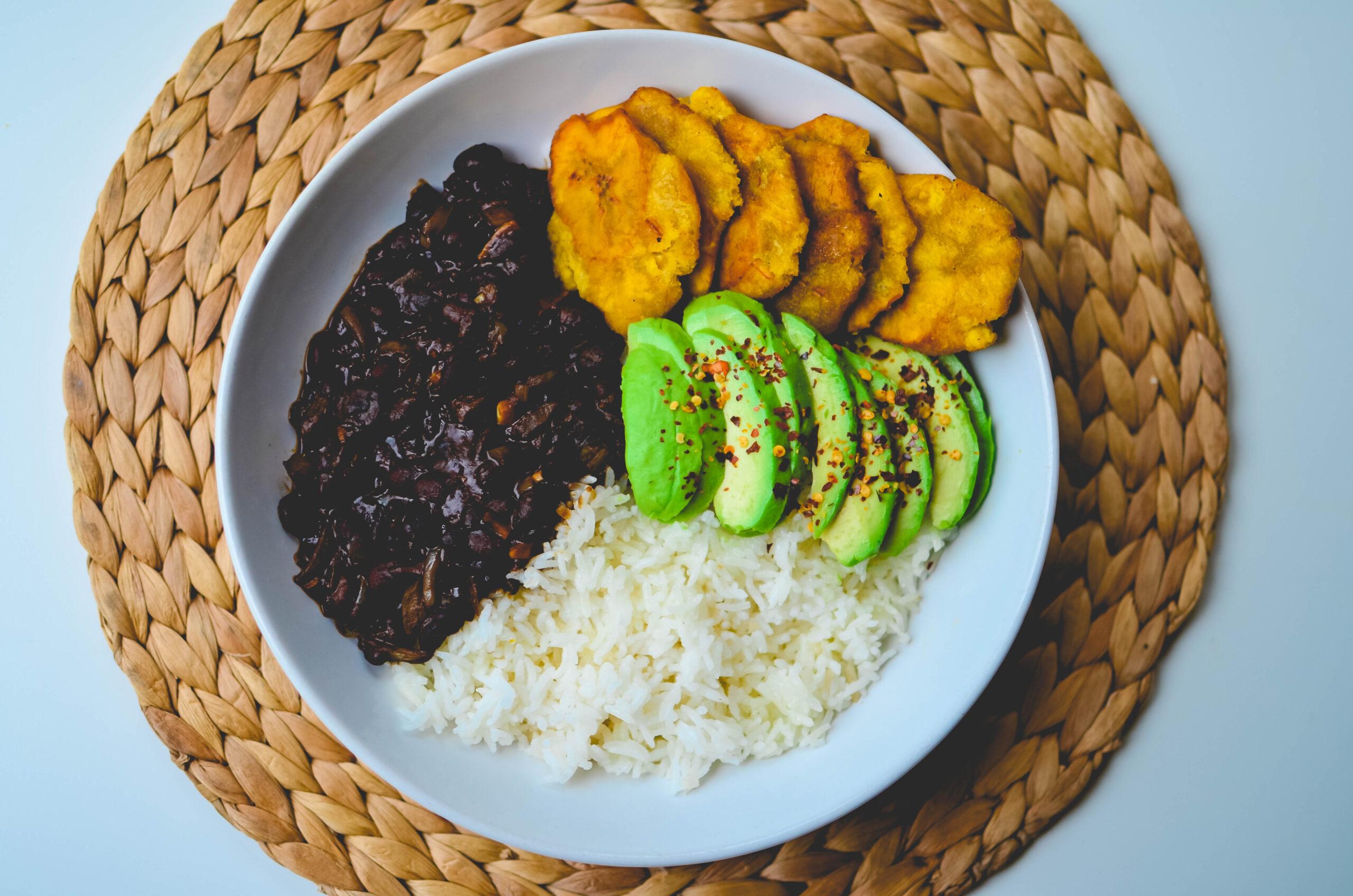 Haitian Style vegan rice bowl with