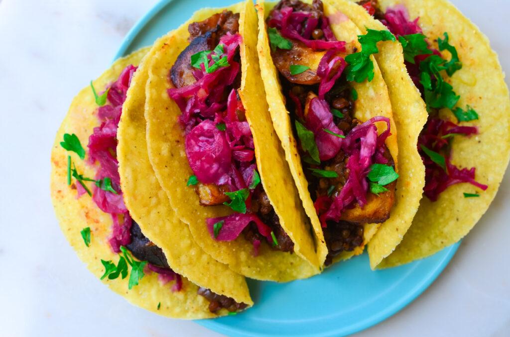 Vegan_Chipotle LEntil Plantain taco on a plate