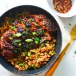 Blackened Maple Soy Lime Salmon with veggie no fried rice