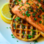 side view of the hot honey salmon and waffles