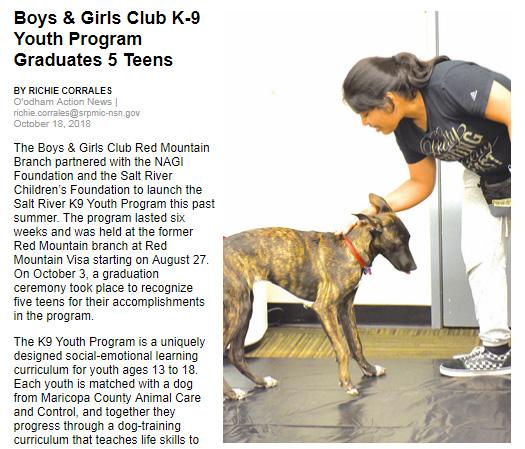Boys & Girls Club K-9 Youth Program Graduates 5 Teens
