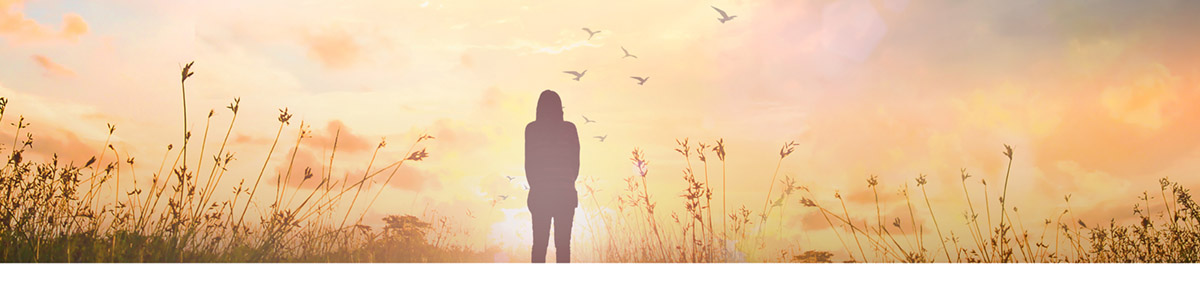 World mental health day concept: Silhouette alone woman standing