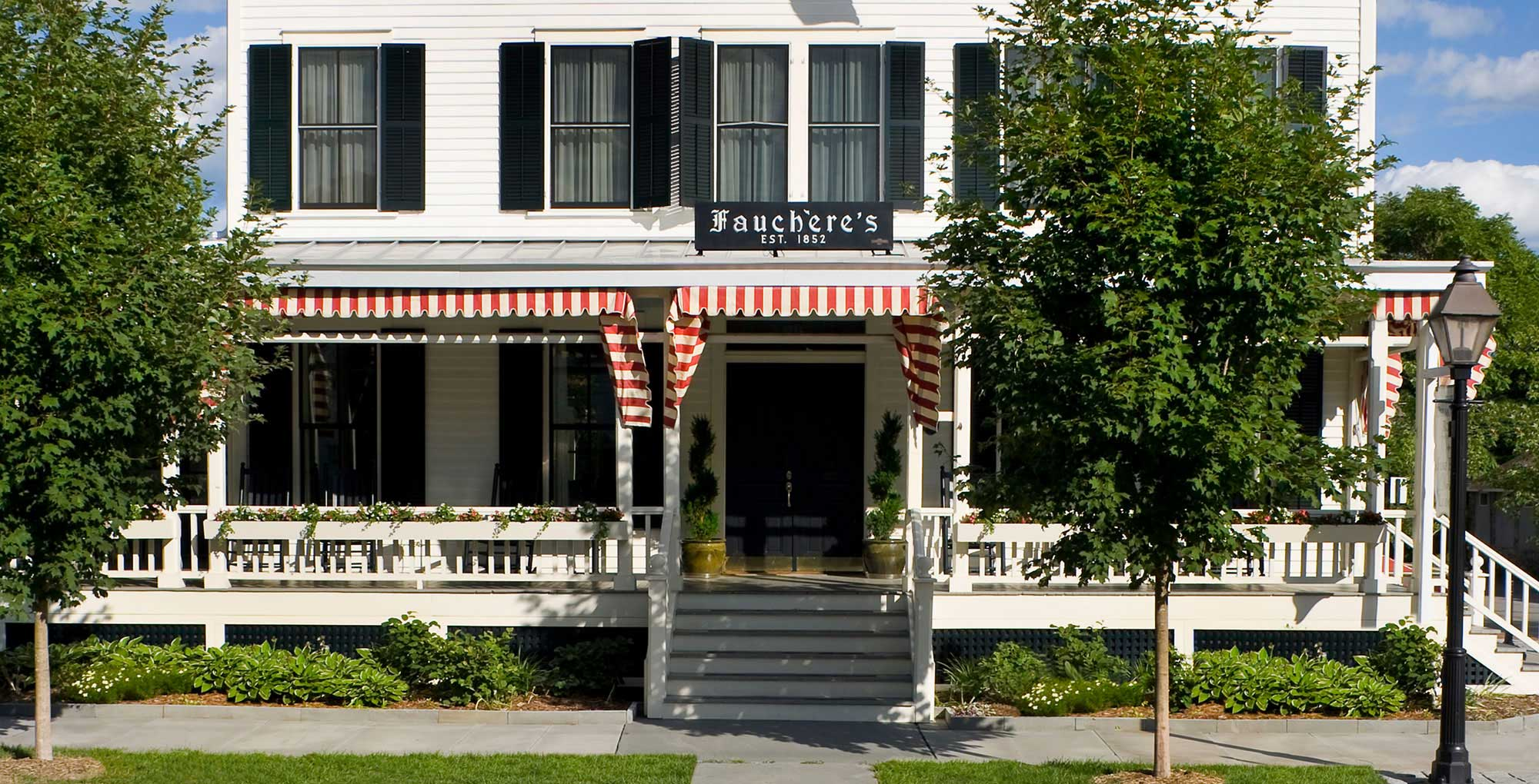 outside view of boutique hotel fauchere with restaurants and spa in milford pa