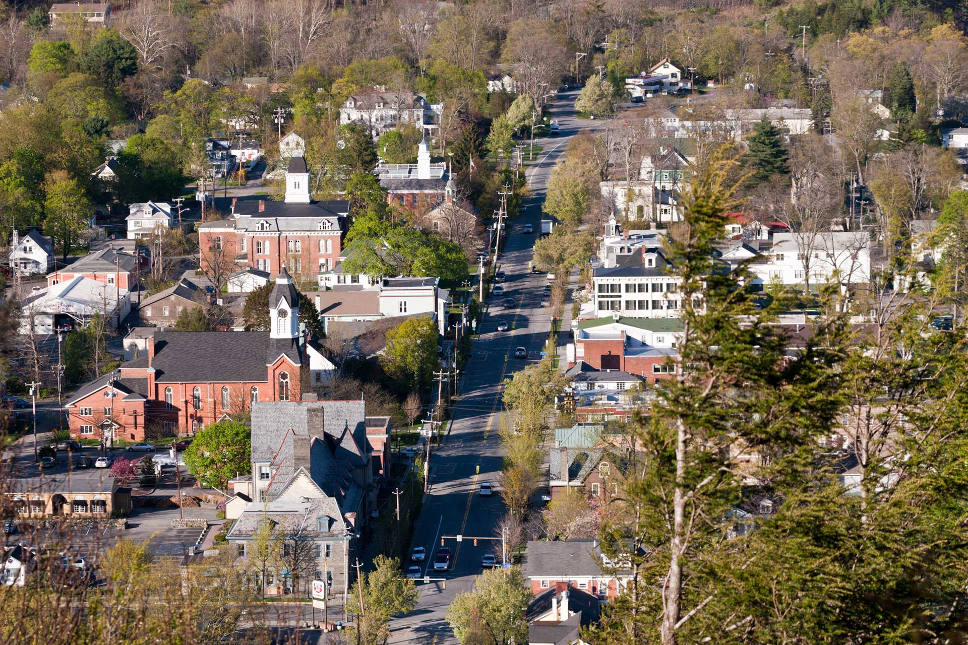 birds eye view of milford pa down broad street