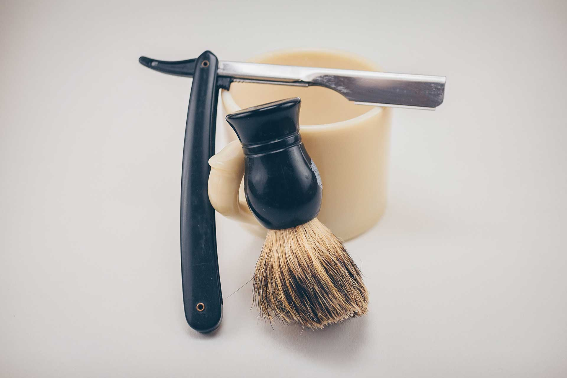 shaving cup, brush, and straight razor for barber