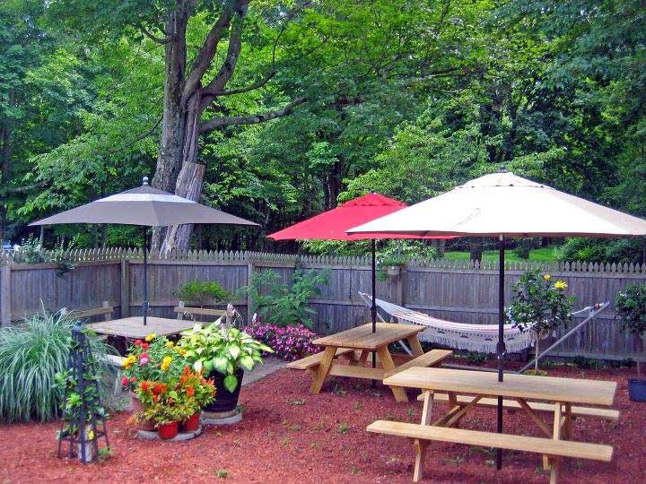 outside seating area of tequila sunrise with picnic tables and umbrellas