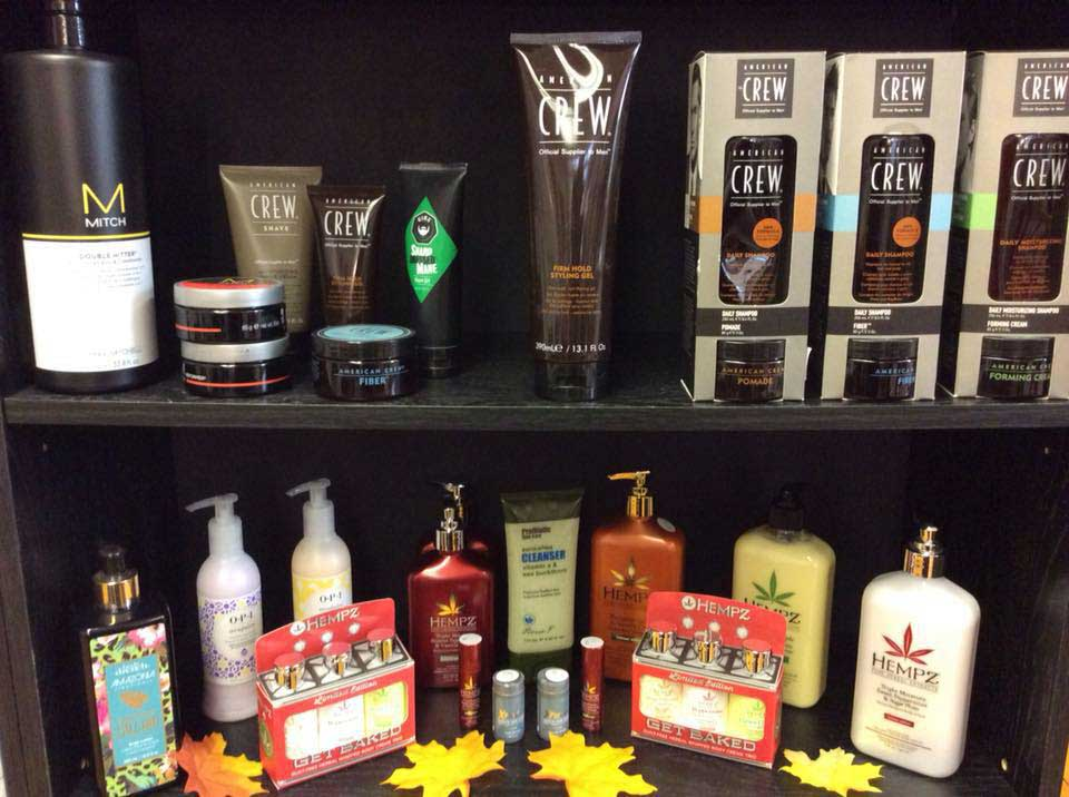 two shelves of hair products available at unisex beauty supply and salon