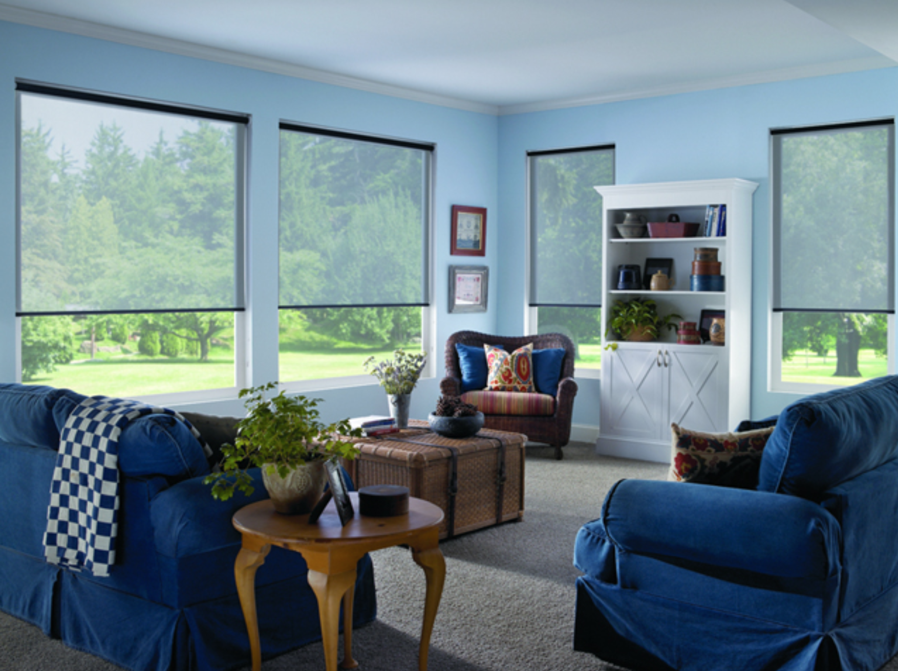 living room interior with shades half drawn down