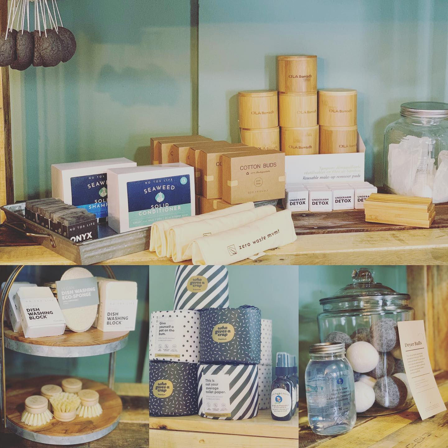 a variety of zero waste home products on shelves