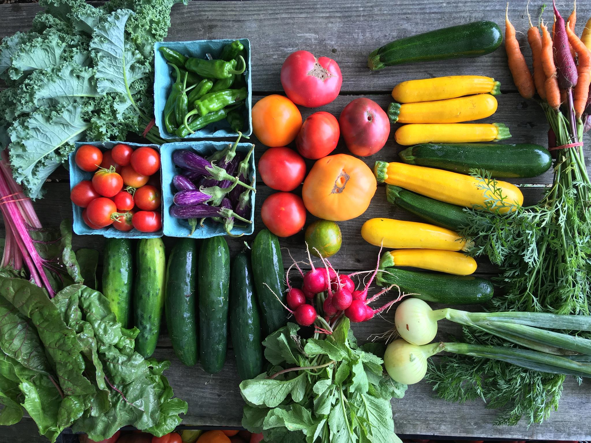 table at a farmers market with assorted fresh vegetables