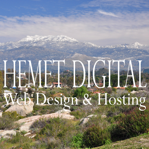 Hemet Digital Web Design & Hosting of Hemet, California provides $399 custom business web sites, $8.99 web hosting, $9.99 domain registration, responsive web site management, and DEPENDABLE LOCAL SUPPORT to business owners in Hemet, Temecula, Murrieta, and other local communities in the Inland Empire of Southern California, and throughout the United States.