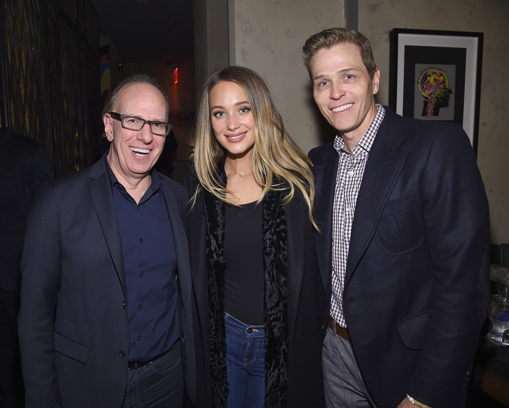 NEW YORK, NY - FEBRUARY 15: Richard Wolf, Hannah Davis and Patrick Whitesell attend IMG Models Celebrates The Sports Illustrated, Swimsuit issue at Vandal on February 15, 2016 in New York City. (Photo by Dimitrios Kambouris/Getty Images for NYFW: The Shows)