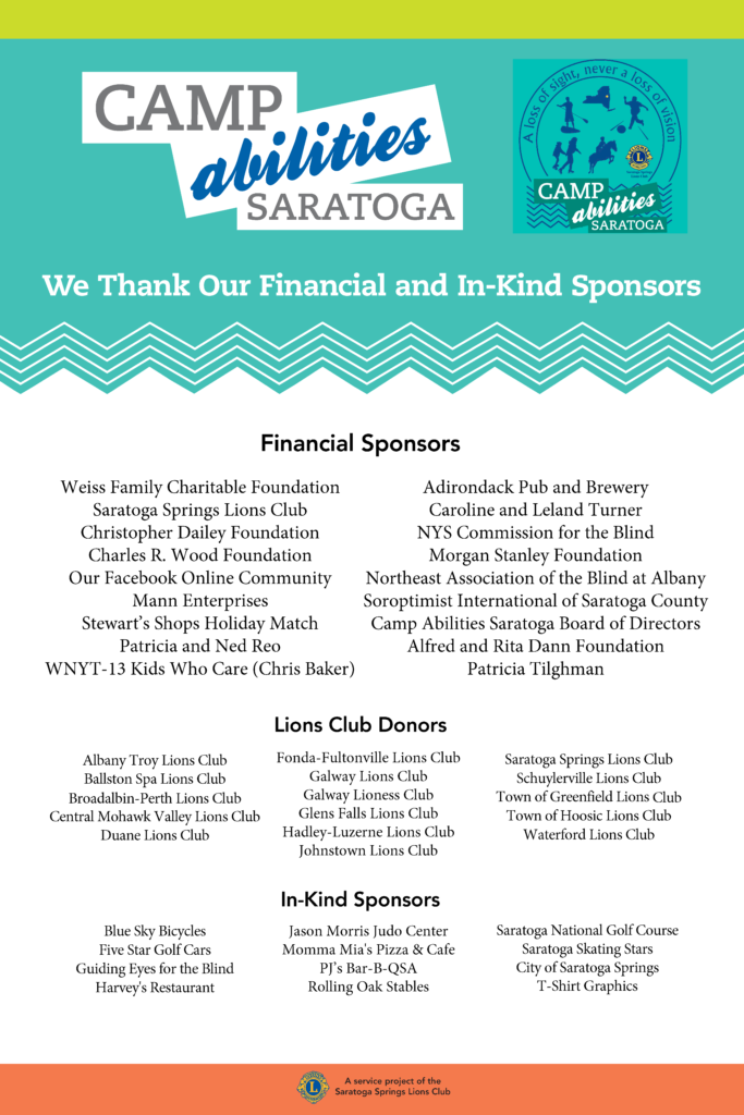 List of financial sponsors, Lions Club Donors, and In-Kind Sponsors for Camp Abilities Saratoga 2019