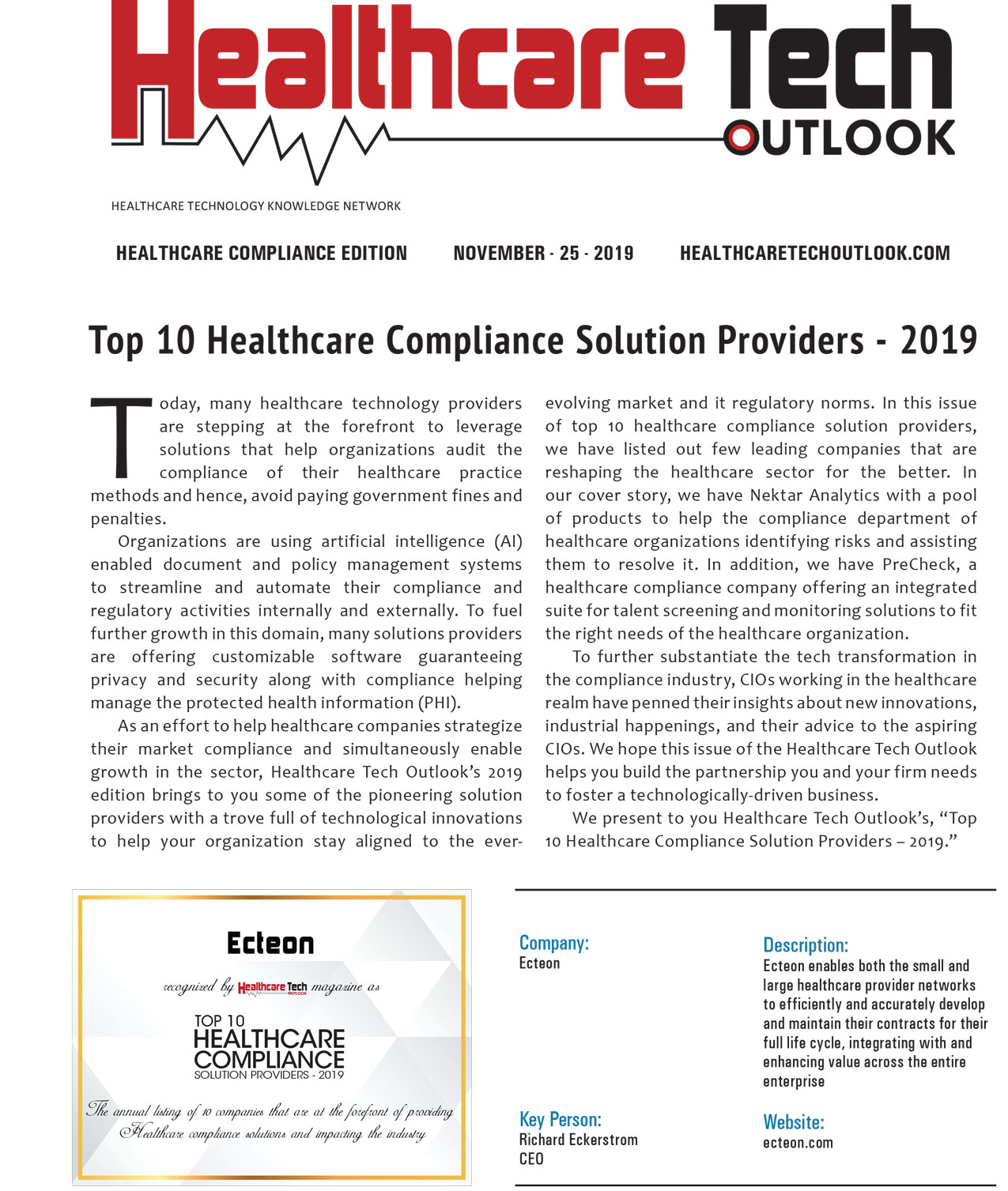 Top 10 Healthcare Compliance Solution Providers 2019, page 1