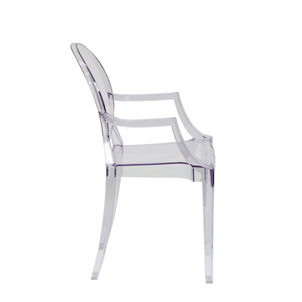 Ghost Chair with Arms (Side View) - AC Party Rentals