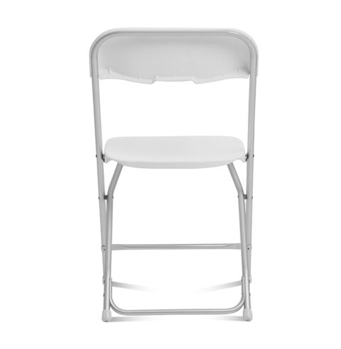 White Folding Chair Aluminum Frame : Back View - AC Party Rentals