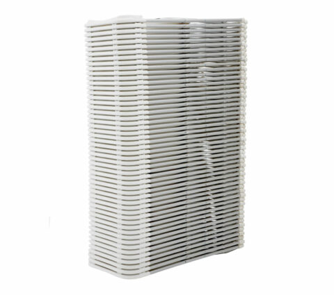 White Folding Chair Aluminum Frame : Stack View - AC Party Rentals