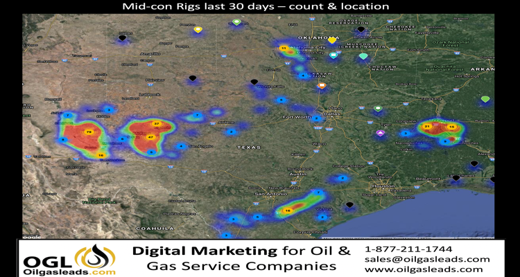 147 Oil & Gas Operators and 348 drilling rigs that spud wells in Texas, Oklahoma, New Mexico and Louisiana